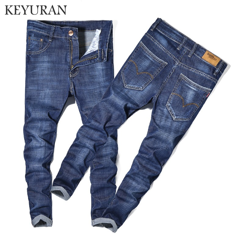Men Jeans Business Casual Thin Summer Straight Plus size Fit Blue Jeans Stretch Denim Pants Trousers Classic Cowboys Young Man