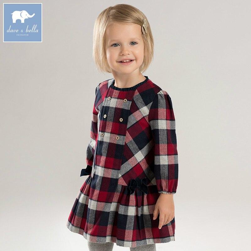 DBA7953 dave bella automne infantile de bébé fille de mode plaid robe enfants fête d'anniversaire robe toddler enfants vêtements