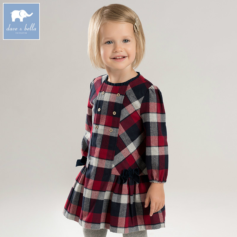DBA7953 dave bella autumn infant baby girl's fashion plaid dress kids birthday party dress toddler children clothes цена 2017