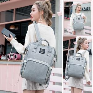 Image 2 - Сумки для подгузников Lequeen с USB интерфейсом, для мам, большие дорожные рюкзаки для младенцев, дизайнерская сумка для ухода за детьми