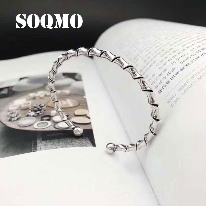 SOQMO Tom Hope Bracelet réglable 100% 925 bijoux en argent sterling femmes inspirant ouverture Bracelet Bracelet Bracelet graduation SQM270