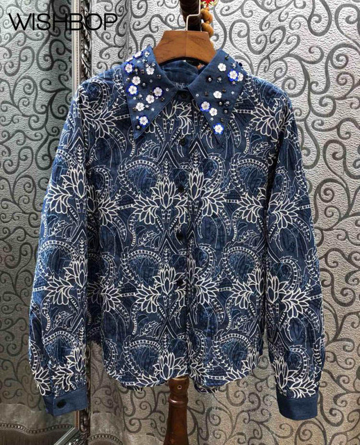 WISHBOP 2018 Fashion Autumn Blue Embroidered Shirt Collar with 3D Flowers  Appliques Long Sleeves Pleated Back Front Button up 4332b888ca8b