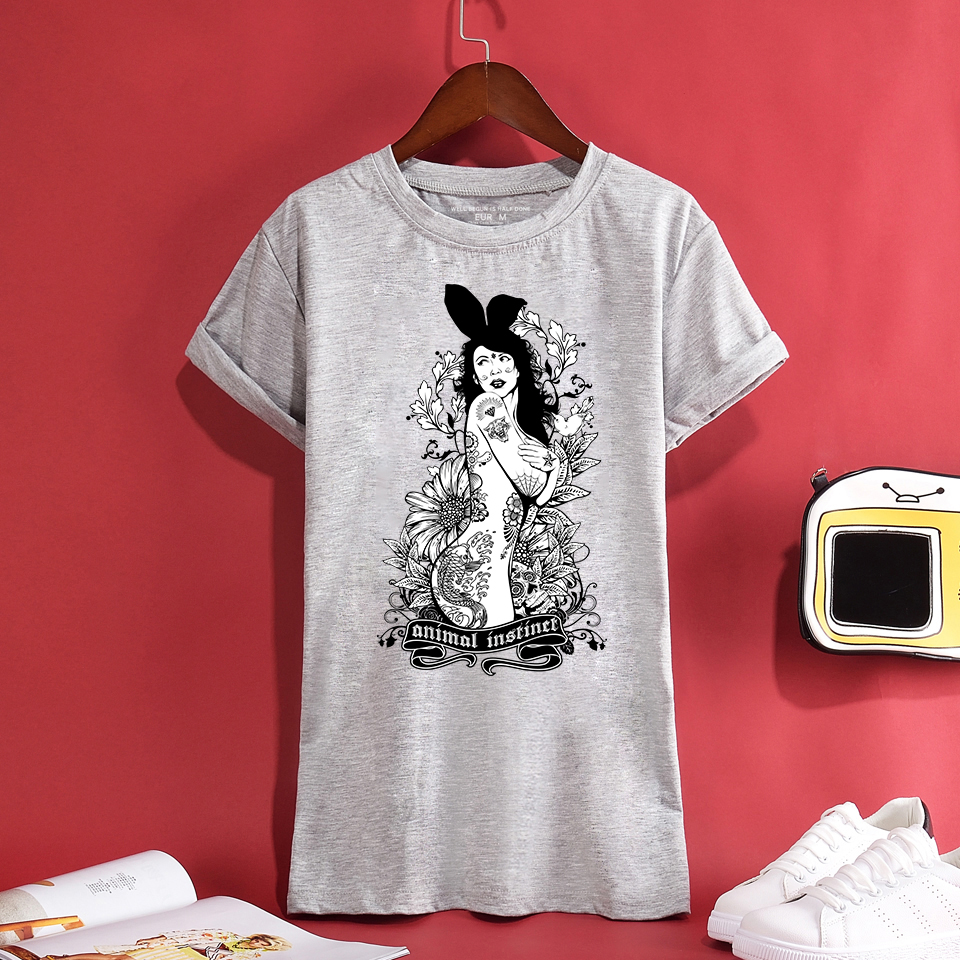 Swag Trendy Tattoo Nude Bunny Girl Design Men/Womens T-shirt Summer Comfortable Breathable Quality 100%Cotton Unisex Tees Top