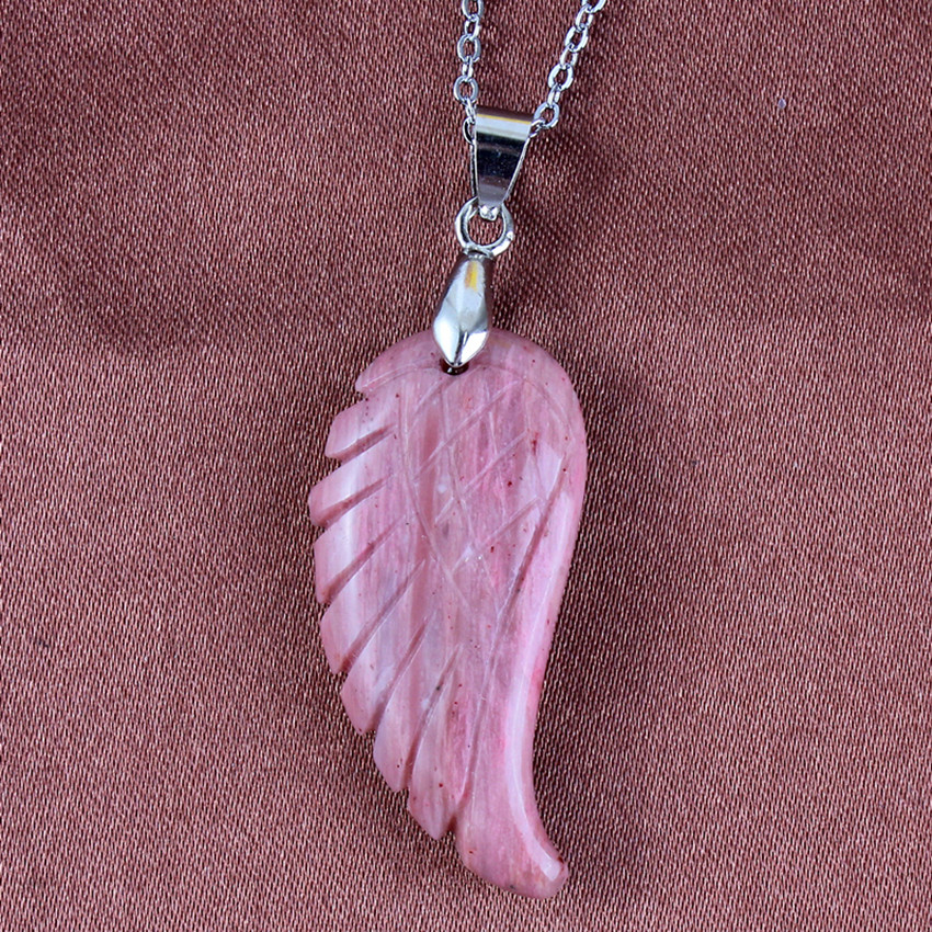 100 Unique 1 Pcs Silver Plated Rhodonite Stone Flying Wings of Angel Pendant Fashion Feather Jewelry For Gift in Pendants from Jewelry Accessories