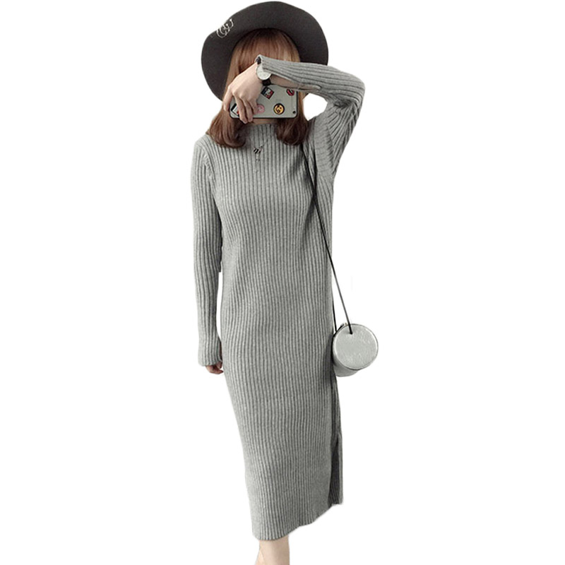 2017 New Autumn Women Midi Sweater Dress 3 Color Warm Slim Dresses Elastic Side Split Ripped Knitted Winter Robes Vestidos XH631 new 2017 hats for women mix color cotton unisex men winter women fashion hip hop knitted warm hat female beanies cap6a03
