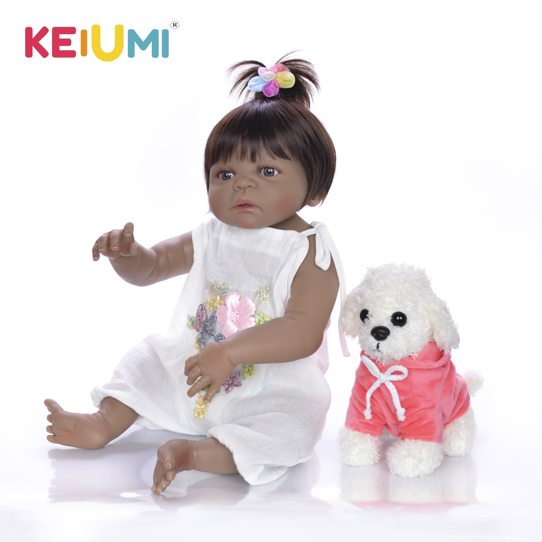 ตุ๊กตาเด็กทารกสมจริง 23 ''สาวสีดำผิว Reborn ตุ๊กตาทารกของเล่นซิลิโคนร่างกายเต็มรูปแบบ Handmade ชาติพันธุ์ตุ๊กตาเด็ก xmas ของขวัญ-ใน ตุ๊กตา จาก ของเล่นและงานอดิเรก บน   1