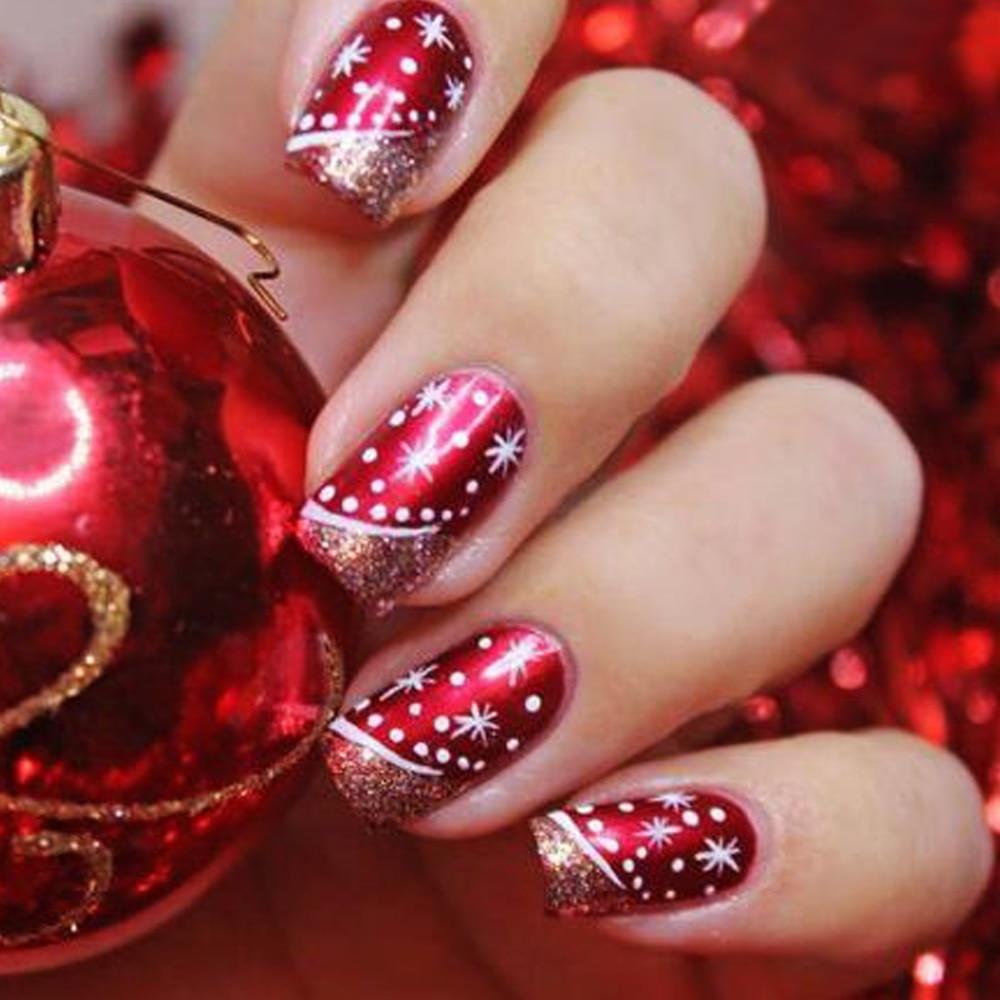 1 Box Nail Glitter Powder Glimmer Dust Wine Red Christmas Design ...