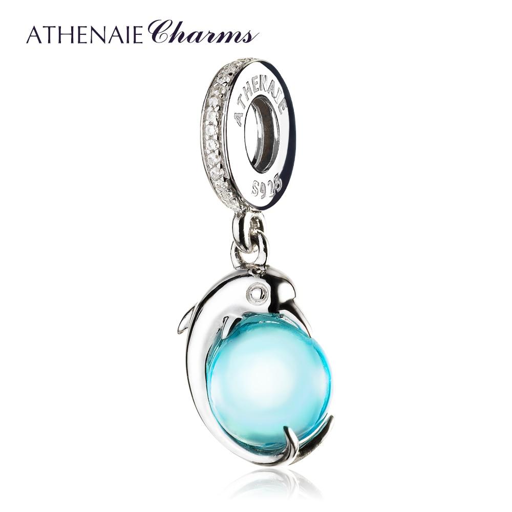 ATHENAIE 925 Sterling Silver Playful Dolphin Sky Blue CZ Ball Pendant Drops Charms Fit Bracelets Bangle