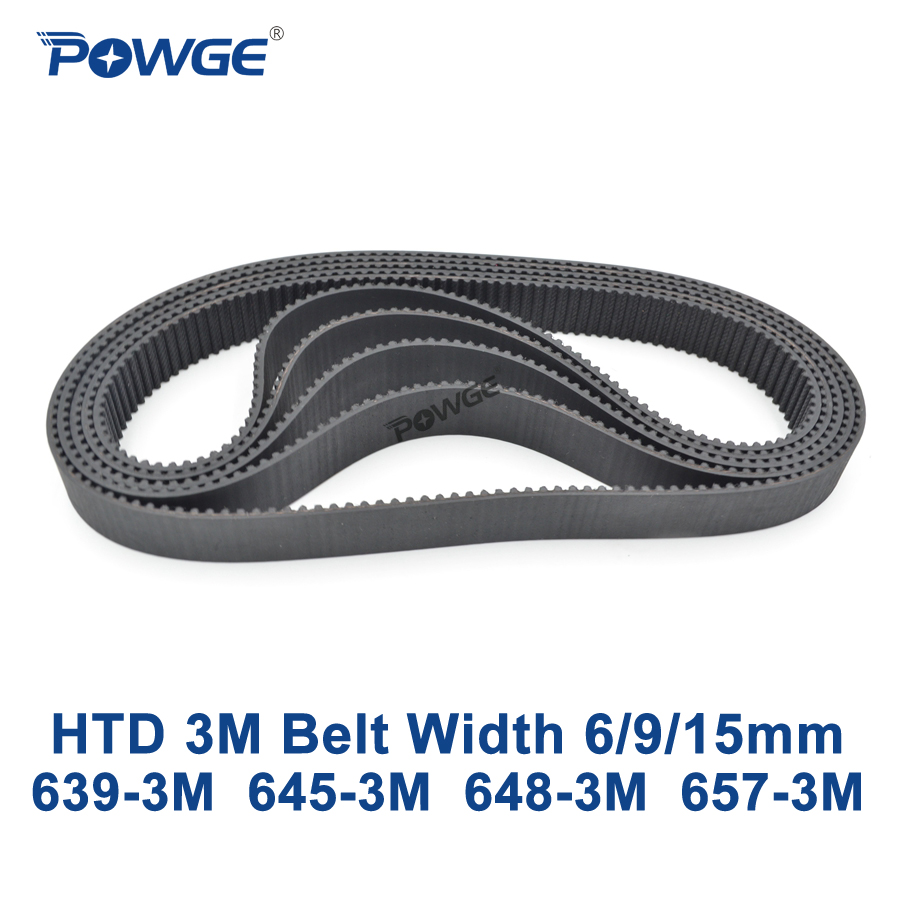 POWGE HTD 3M Timing belt C= 639 645 648 657 width 6/9/15mm Teeth 213 215 216 219 HTD3M synchronous 639-3M 645-3M 648-3M 657-3MPOWGE HTD 3M Timing belt C= 639 645 648 657 width 6/9/15mm Teeth 213 215 216 219 HTD3M synchronous 639-3M 645-3M 648-3M 657-3M