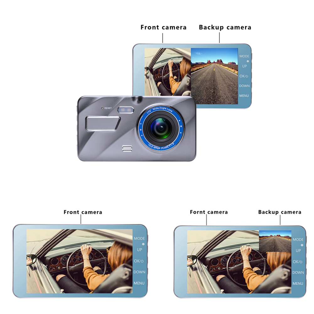 9Dash Cam New Dual Lens Car DVR Camera Full HD 1080P 4 IPS Front+Rear Mirror Night Vision Video Recorder Parking Monitor