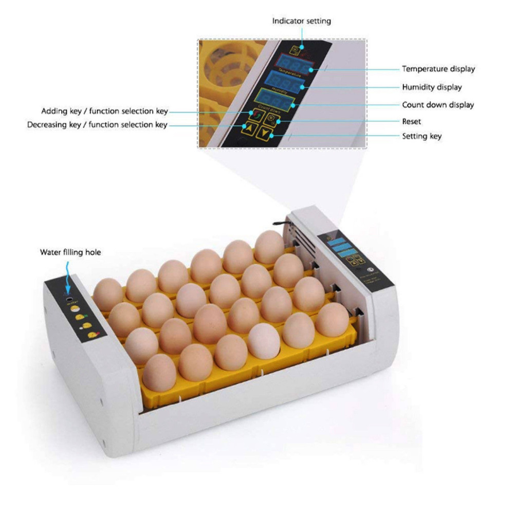 (Ship from Germany) LED Display 24 Egg Incubator Farm Chicken Poultry Hatcher Hatching Automatic Fully chocadeira