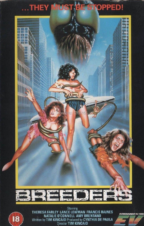 breeders movie poster horror 80 s vhs art print silk
