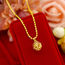 Pure Yellow Gold Color Necklaces for Women Hollow Ball Pendant Necklace Collier Choker Wedding Bridal Jewelry Accessories Bijoux pure 24k yellow gold pendant 3d craved hollow heart bracelet pendant 1g