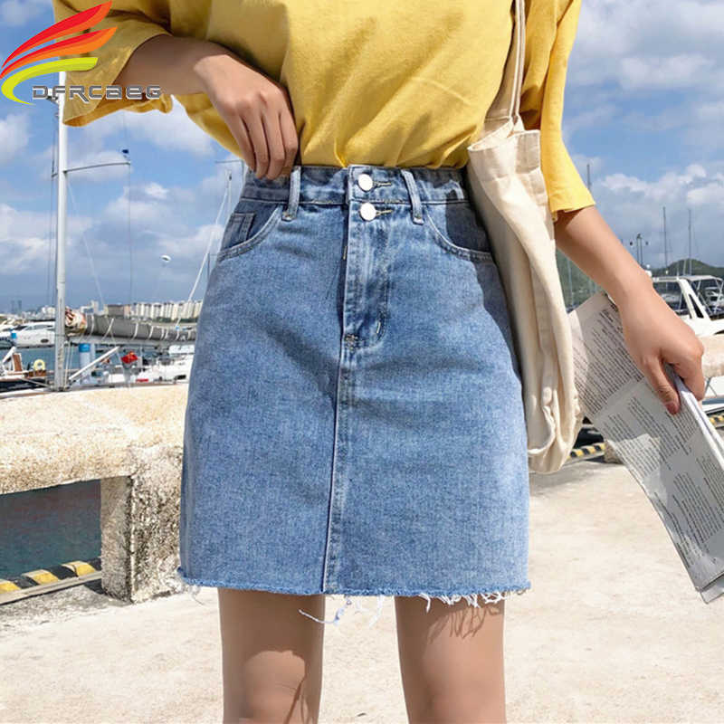 054faaca385 Denim Skirt Women Summer Blue Solid Casual High Waist A Line Denim Skirts  High Street Pockets