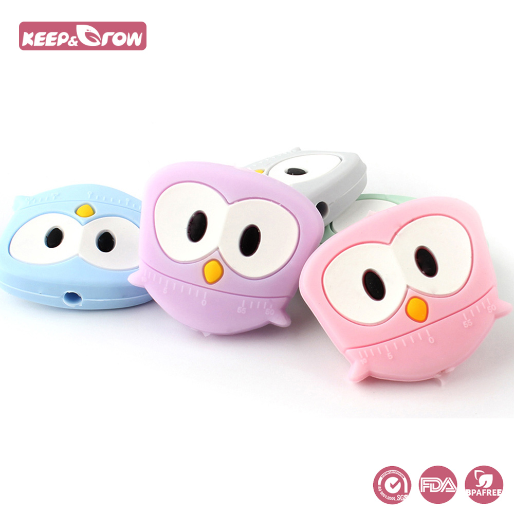 Keep&Grow 10pcs Owl Shaped Silicone Beads BPA Free Rodent Silicone Teether Food Grade Silicone Baby Products Pacifier Pendant