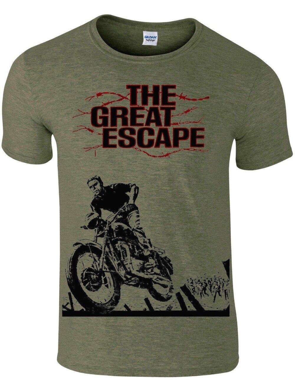 Steve Mcqueen Die Great Escape Biker Cafe Rennen Motorrad Film Männer T Shirt Marke Männer Mode Sommer Auflistung Mode