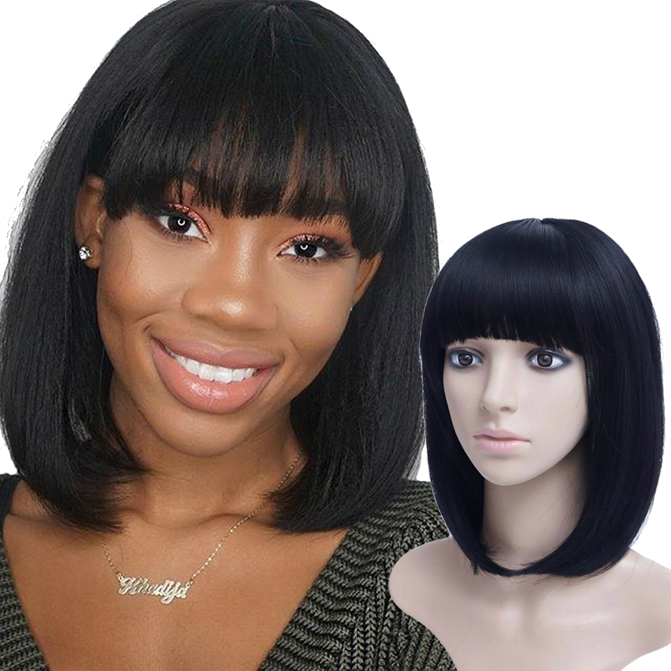 AOSIWIG Short Bob Wig Synthetic Wigs For Women Heat Resistant Straight Hair For Women Hairpieces