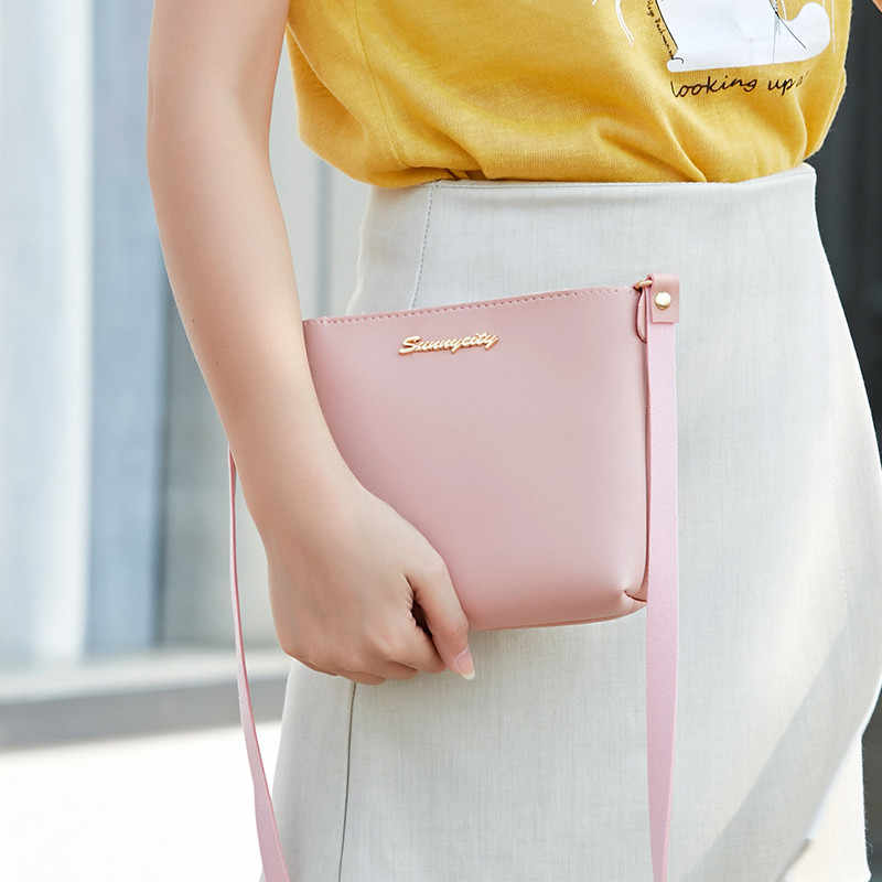 Portable Kasual Sederhana Tas Wanita Fashion PU Kulit Mini Zipper Bahu Tote Warna Murni Crossbody Messenger Tas Dompet