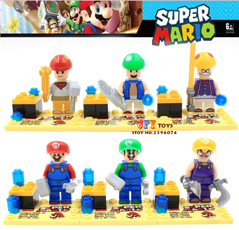 60pcs starwars super heroes marvel Super Mario Bros Luigi Mario building blocks bricks hobby interesting toys for kids speelgoed