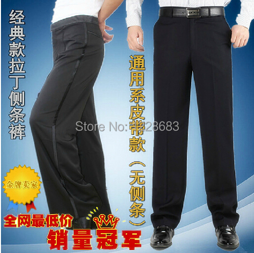 Free Shipping Two Styles Black Satin Ribbon On Side Men's Latin Pants Mens Ballroom Dance Pants Latin Dance Pants Men
