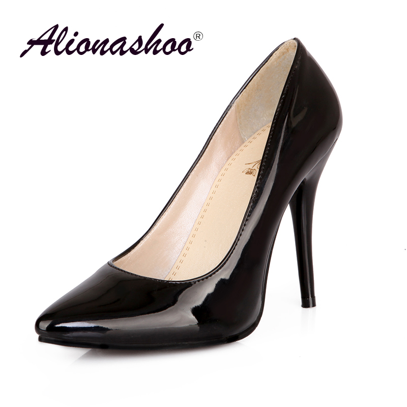 2019 Large Size 34-48 Pu Leather Office Women Shoes Shallow Elegant Pumps For Ladies Seven Colors Thin High Heel Women Shoes