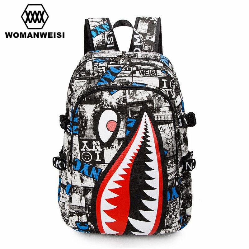 2016 Vintage Graffiti Anime Shark Printing Backpack Brand Designer Backpack For Teenage Boy Girl Women Men School Bags zaino
