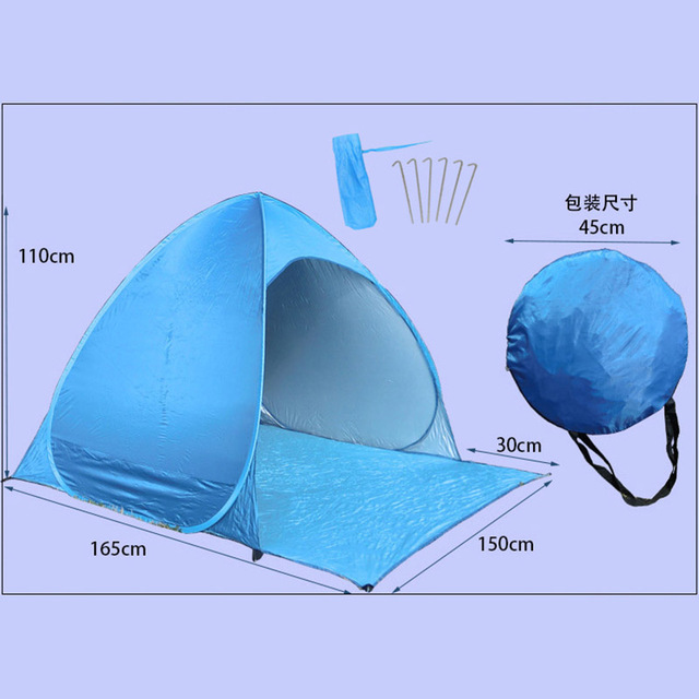 Newly Portable Outdoors Automatic Opening Pop Up Instant Quick Cabana Beach Tent Sun Shelter UV Protection Camping Tools