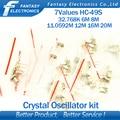 7values * 5 pcs = 35 pcs 32.768 Khz 6 Mhz 8 Mhz 11.0592 Mhz 12 Mhz 16 Mhz 20 Mhz Cristal Oscilador HC-49S novo e frete grátis