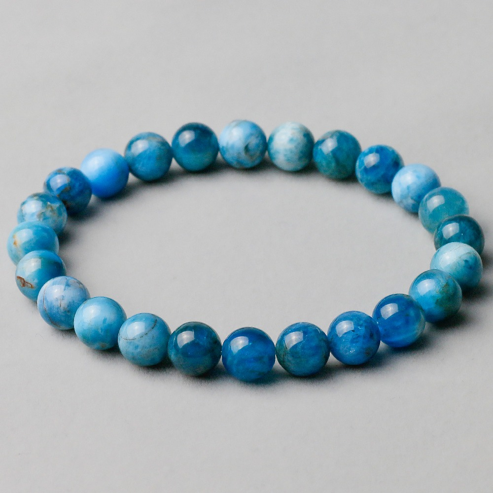 Natural Genuine Blue Apatite Phosphorite Round Loose 8mm Smooth Beads Bracelet For Women Men Energy Jewelry aaa high quality natural genuine clear green blue apatite fluorapatite round loose gemstone beads 15 05722