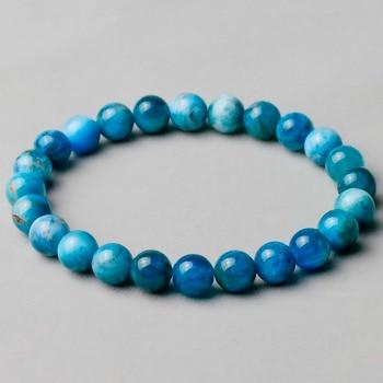 Naturalny prawdziwy niebieski apatyt fosforyt okrągły luźny 8mm gładka bransoletka z koralików dla kobiet mężczyzn biżuteria energetyczna