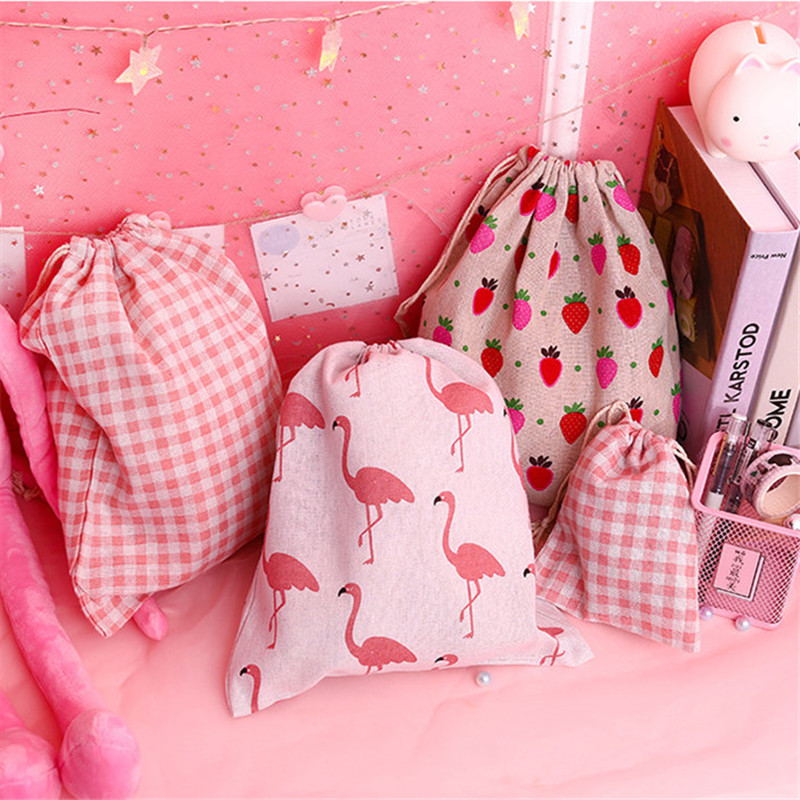 1pcs Handmade Drawstring Bag Flamingo Strawberry Pattern Cotton Linen Storage Package Bag  Travel Women Small Cloth Bag