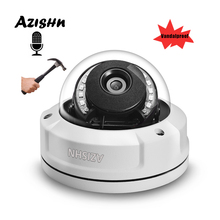 Vandalproof H.265 2MP 5MP IP Camera Audio Security Internal Microphone ONVIF PTP Alert IR Night Dome Surveillance Camera AZISHN