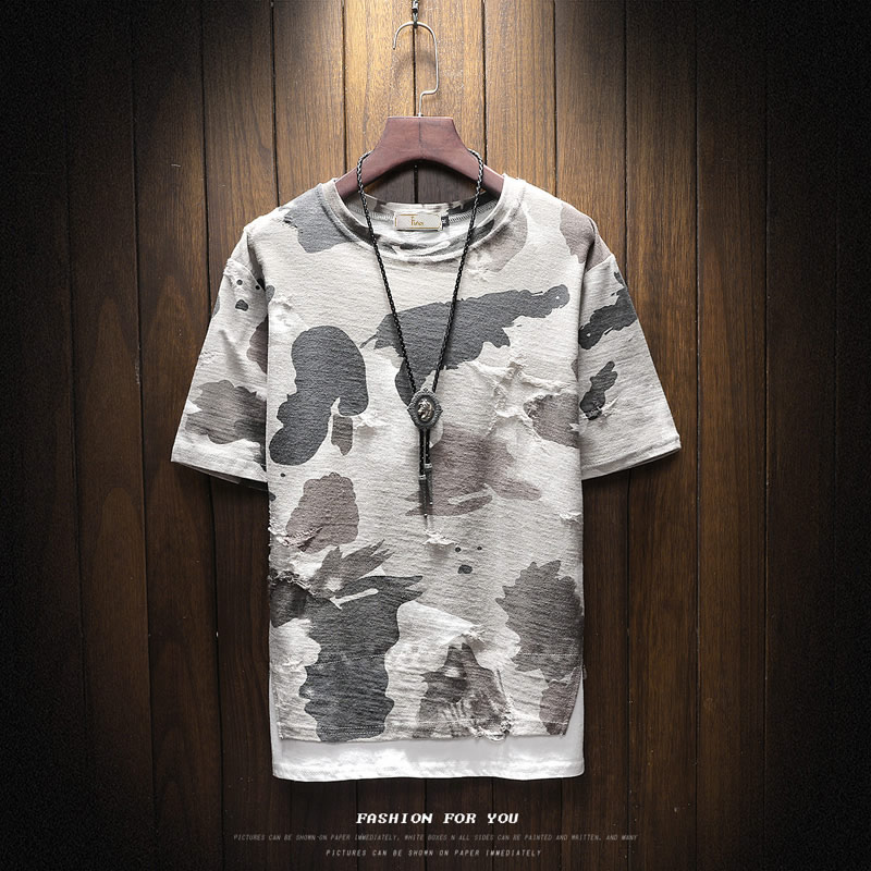 New arrival 2018 summer fashion letter print camouflage short sleeve t shirt for men men's military streetwear t-shirt DTX2 25