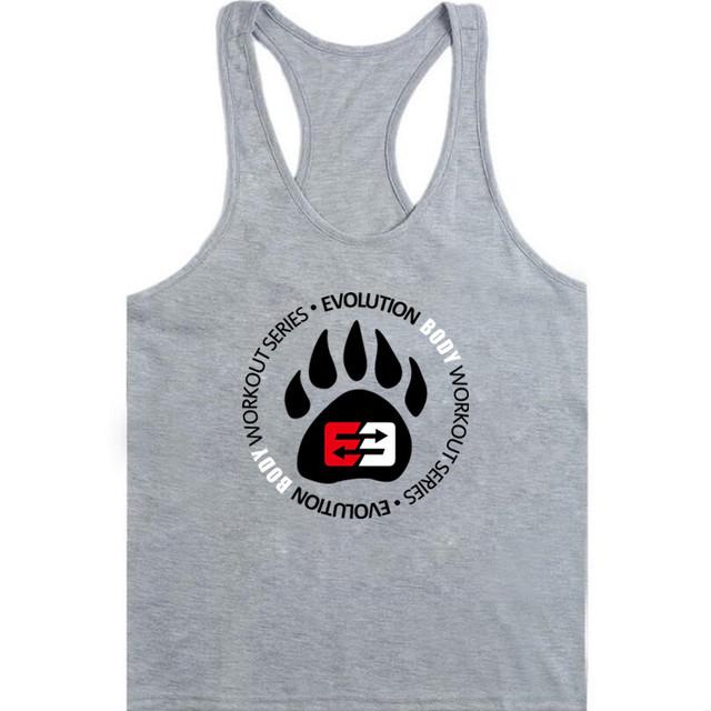 2018 new  Mens Bodybuilding Tank top Gyms Fitness Cotton Sleeveless t shirt clothing Golds Stringer Singlet Man Casual Print Ves