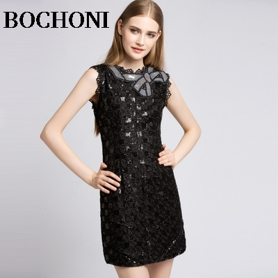 2018 Bochoni new Bow Slim Sleeveless Dress