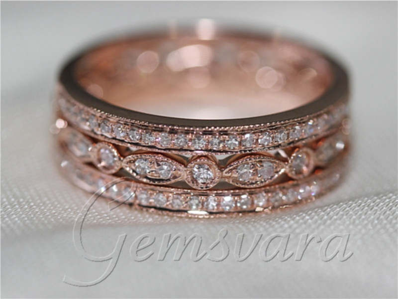3 rings solid 14k rose gold pave diamond wedding bands engagement ring diamond jewelry wedding rings in rings from jewelry accessories on aliexpresscom - Rose Gold Diamond Wedding Ring