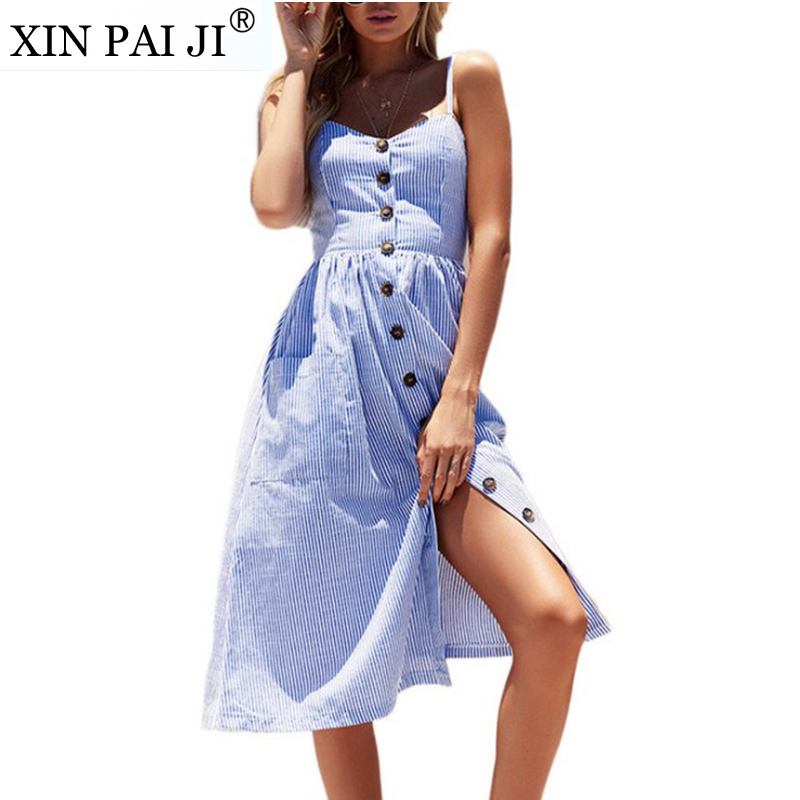 Сексуальное повседневное летнее платье в полоску с пуговицами на тонких бретельках, длинное пляжное платье в стиле бохо с карманами, Женски