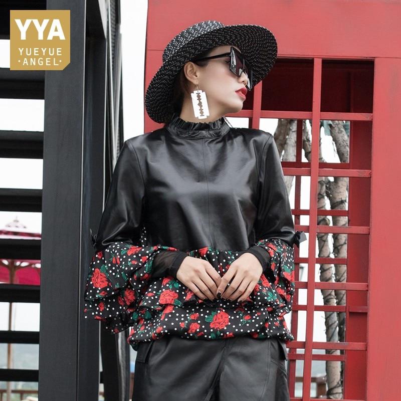 2019 Women New Slim Fit Sheep Leather Overcoat Stand Collar Fashion Patchwork Chiffon Shirt Long Sleeve Sheepskin Jackert