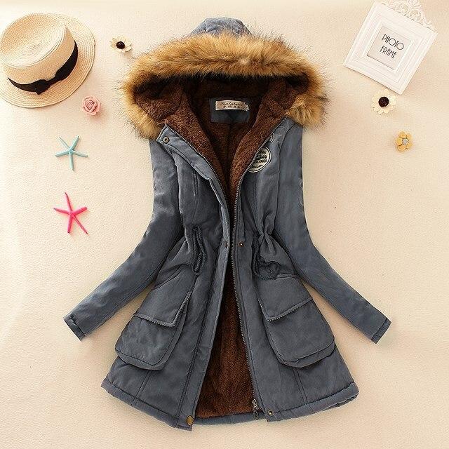 2019 Winter New Women s Hooded Fur Collar Waist And Velvet Thick Warm Long Cotton Coat 2019 Winter New Women's Hooded Fur Collar Waist And Velvet Thick Warm Long Cotton Coat Jacket Coat