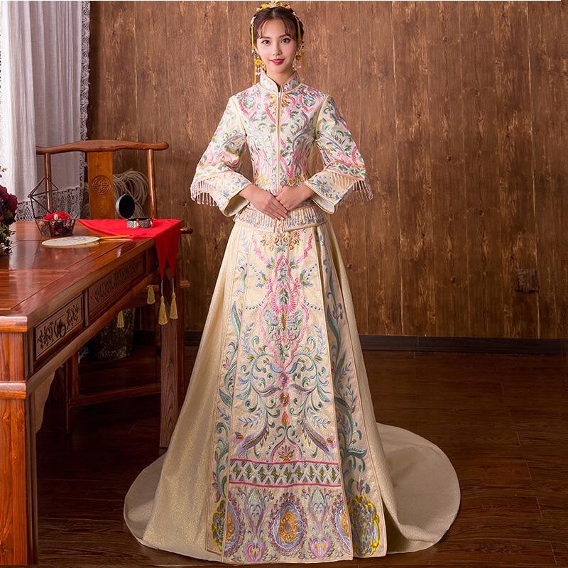 Красное свадебное платье Традиционный китайский Ципао Национальный костюм женские за рубежом Новый Китай Стиль невесты вышивка Cheongsam S XXL