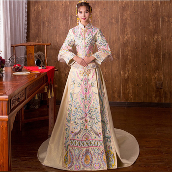 15b5d35d1 Cheapest price Green One word shoulder wedding dress Female Long Lace Women  Cheongsam Chinese Traditional Dress