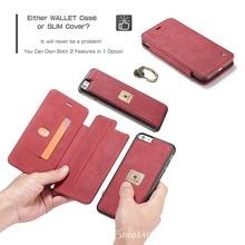 Бизнес 2 в 1 Гибридный съемный кошелек чехол для iPhone 6/6 s/7 плюс кольцо держатель крышки + слот для карты Флип кожаный мешок