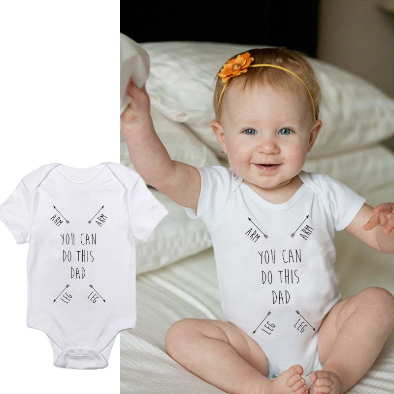 DERMSPE 0-24M Casual Newborn Baby Boy Girl Short Sleeve Letter Print You Can Do This Dad Romper  Outfits Baby Clothes