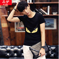 Height quality 2016 mens boys fashion summer simple T-shirt tees printing cat eyes slim short sleeve clothing Korean male tops
