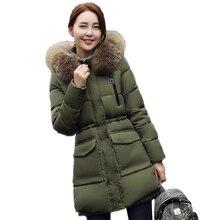 Зимнее пальто женщин 2017 имитация утка вниз куртка женщин длинные зимние пальто толстый слой женский меховой воротник теплая одежда высокого качество