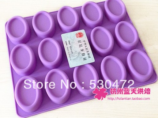15-ti silikonová pekárenská forma na mýdlo Forma na dort oválná 29,5 * 24 * 2CM