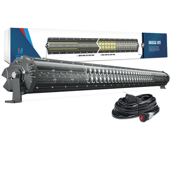 """MICTUNING M1S 42 """"240 W LED Barra de luz de trabajo doble fila aerodinámica fuera de carretera cableado arnés de conducción para Jeep ATV camión barco 22680 lm"""