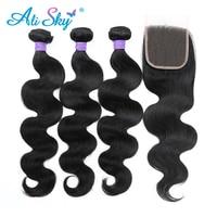 3pcs Human Hair Bundles With Closure Brazilian Body Wave 4pcs Lot Thick And Full Bundles Ali