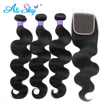 3 stk. Human Hair Bundles med lukning Brazilian Body Wave 4pcs / lot tykke og fulde bundter [Ali Sky] Non Remy Free / Middle / Three Part