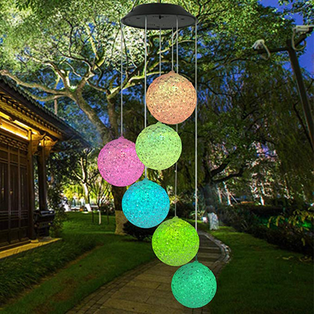 Solar Powered Wind Chime Light LED Garden Hanging Spinner Lamp Color Changing Party Garden Indoor Outdoor Lighting Decoration